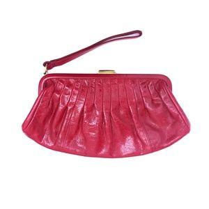 Stunning VINTAGE Hobo leather wristlet clutch RED